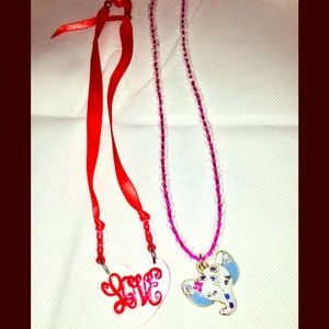 Girl's Necklace Set Elephant Pink Red Love Heart